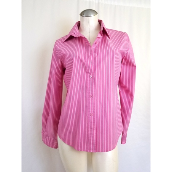 Foxcroft Tops - Foxcroft Size 6 Fitted Wrinkle Free Blouse Pink